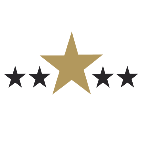 Five Star Review graphic in gold and blue