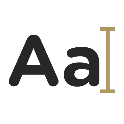 Capital A and Lowercase A graphic in gold and blue