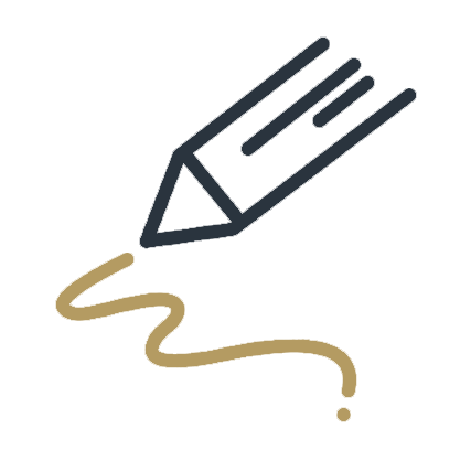 Signature graphic in gold and blue