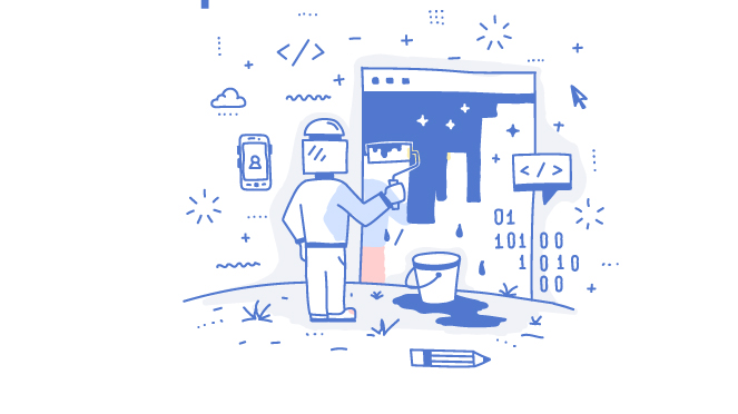 Hand Drawn Animated Man Redesigning His Website By Painting Over The Old